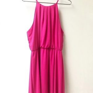 Lush hot pink halter neck mini dress